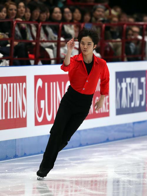 フィギュアスケート世界選手権 最終日 男子フリー 男子フリーの演技をする友野一希(2018年3月24日撮影)