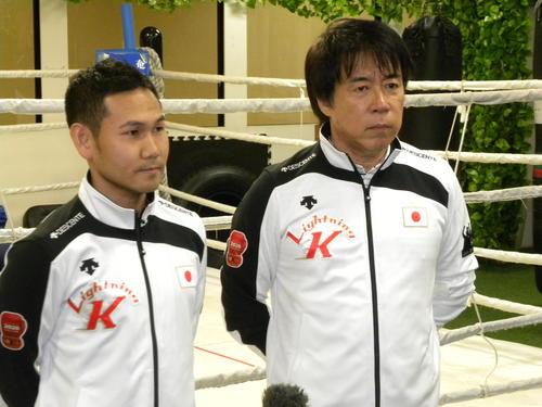 東京五輪への思いを語る高山勝成(左)と中出博啓トレーナー(撮影・松本航)