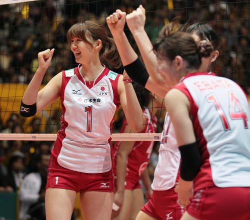 日本対ペルー 得点を喜ぶ栗原恵(2010年10月30日撮影)