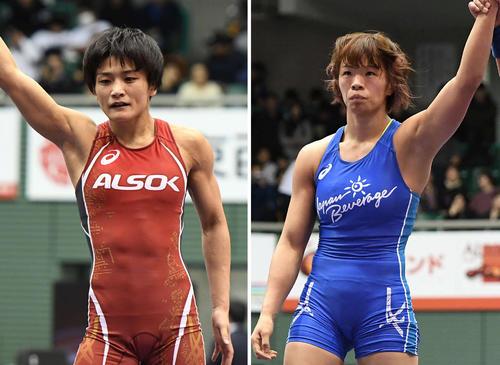 伊調馨(左)と川井梨紗子