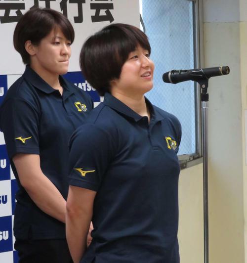 世界選手権への抱負を語る芳田(撮影・上田悠太)