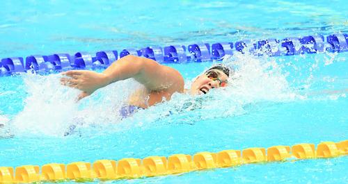 女子400メートルリレー予選 アンカーの白井(撮影・鈴木みどり)