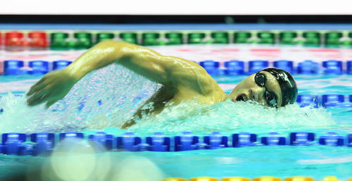 男子200メートル自由形決勝で2位となった松元(撮影・鈴木みどり)