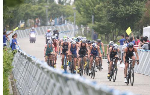 トライアスロン東京五輪予選大会 トライアスロン男子の部で集団で走るバイクの先頭集団(2019年8月16日撮影)