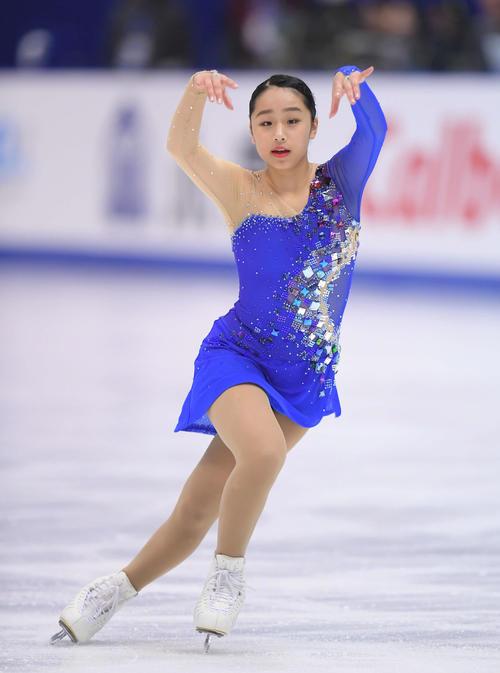 NHK杯 女子フリーで演技する山下(撮影・加藤諒)