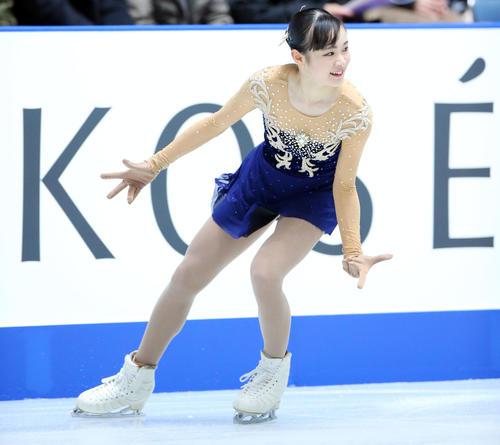 全日本フィギュアスケート選手権、女子SPで演技する浦松(撮影・垰建太)
