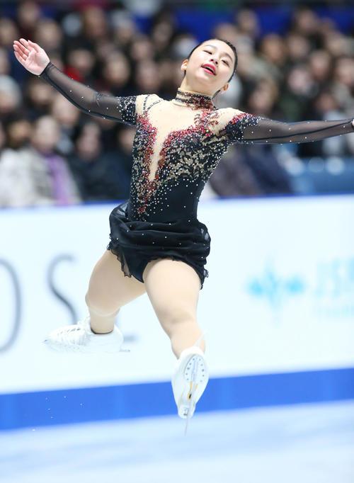 全日本フィギュアスケート選手権、女子SPで演技する山下(撮影・垰建太)