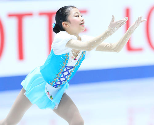 全日本フィギュアスケート選手権、女子SPで演技する千葉(撮影・垰建太)
