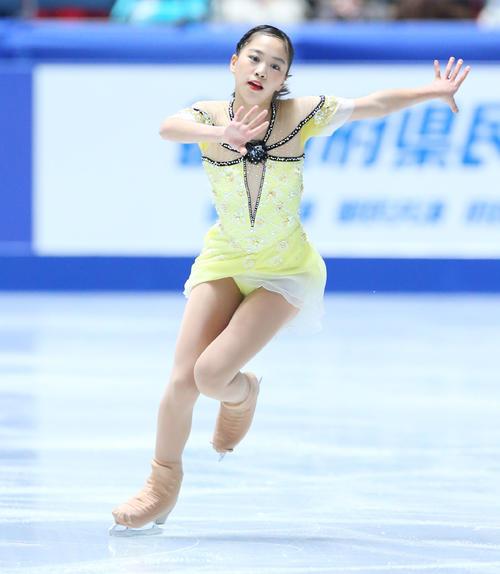 全日本フィギュアスケート選手権、女子SPで演技する吉田(撮影・垰建太)