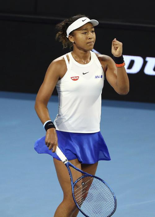 Naomi Osaka [AP] showing Brisbane International Semifinals 1st set and showing guts pose