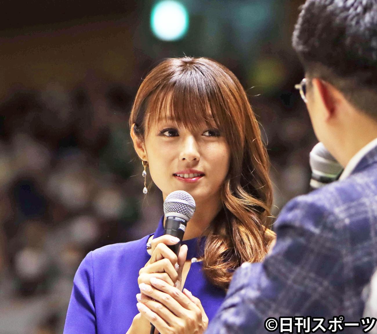 深田恭子がレバンガ北海道の試合にゲストで登場した(撮影・奥村晶治)
