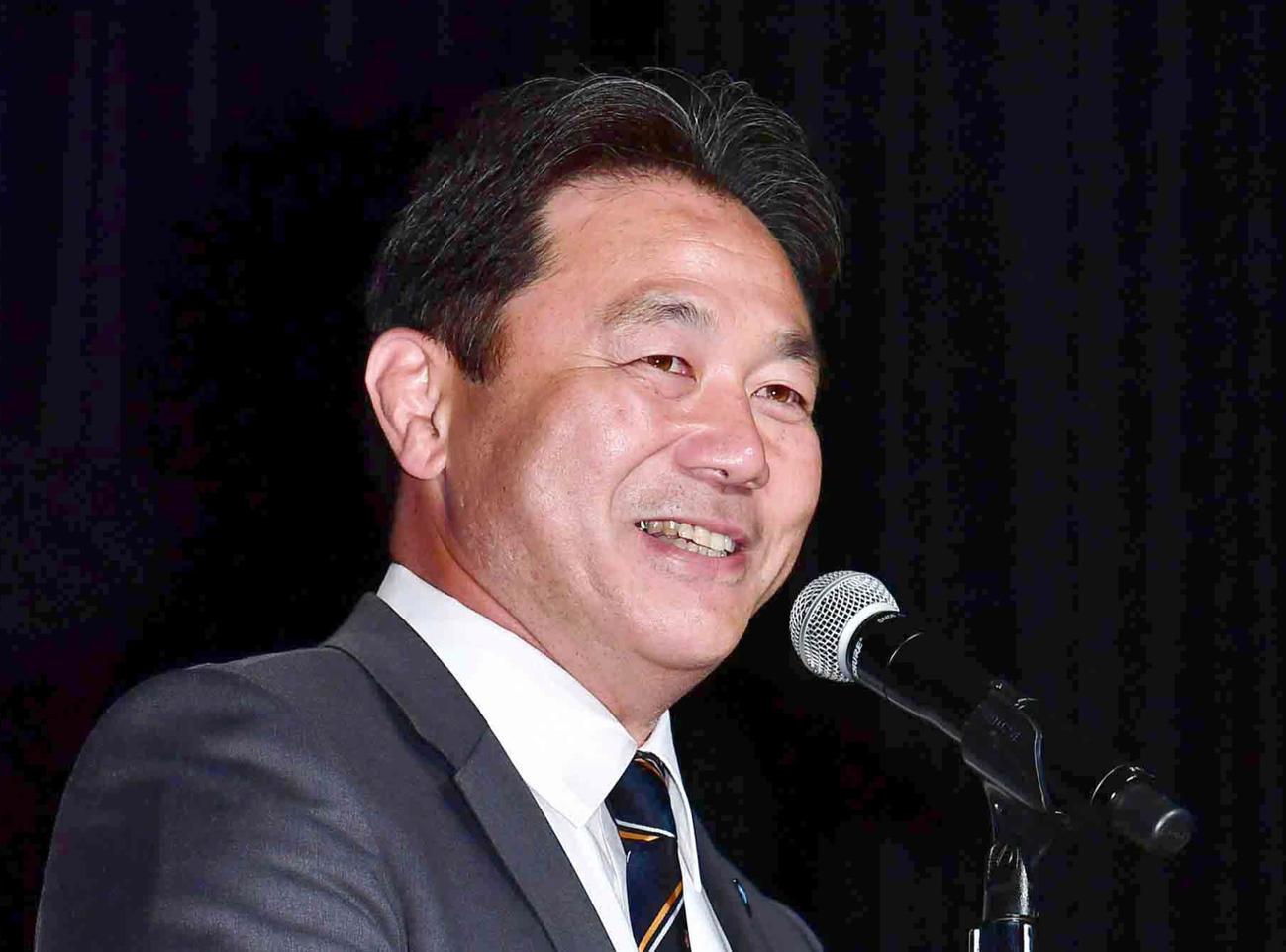 日本ラグビー協会の清宮克幸副会長(2019年7月4日撮影)