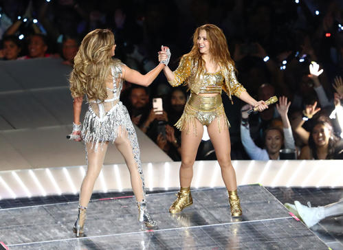 Jennifer Lopez [left] and Shakira [Reuters] at the halftime show