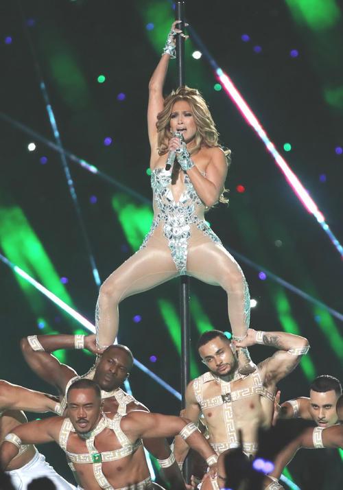 Jennifer Lopez [Reuters] sings at a halftime show