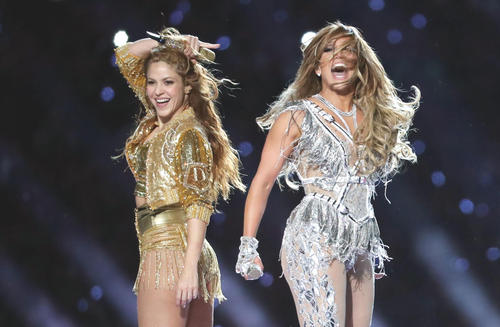 Shakira [left] and Jennifer Lopez [Reuters] at the halftime show