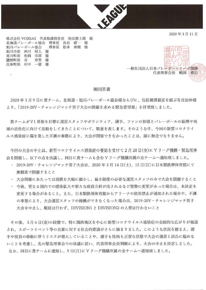 ヴォレアス北海道が提出した緊急要望書へのVリーグ機構の回答