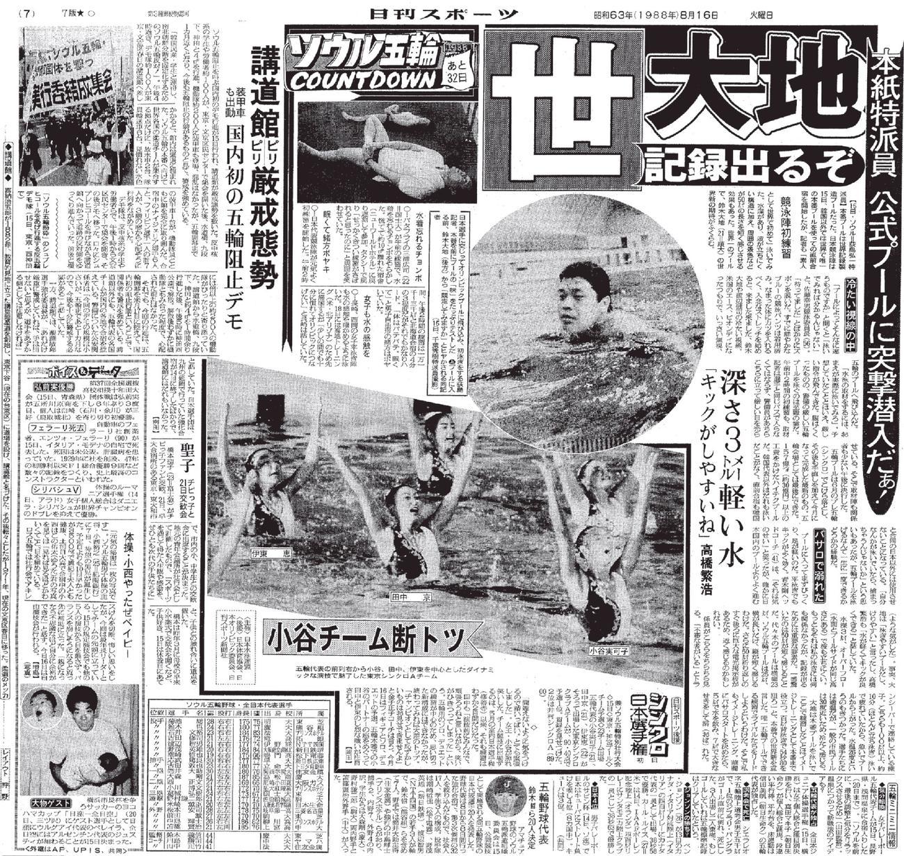 88年8月16日付日刊スポーツ紙面
