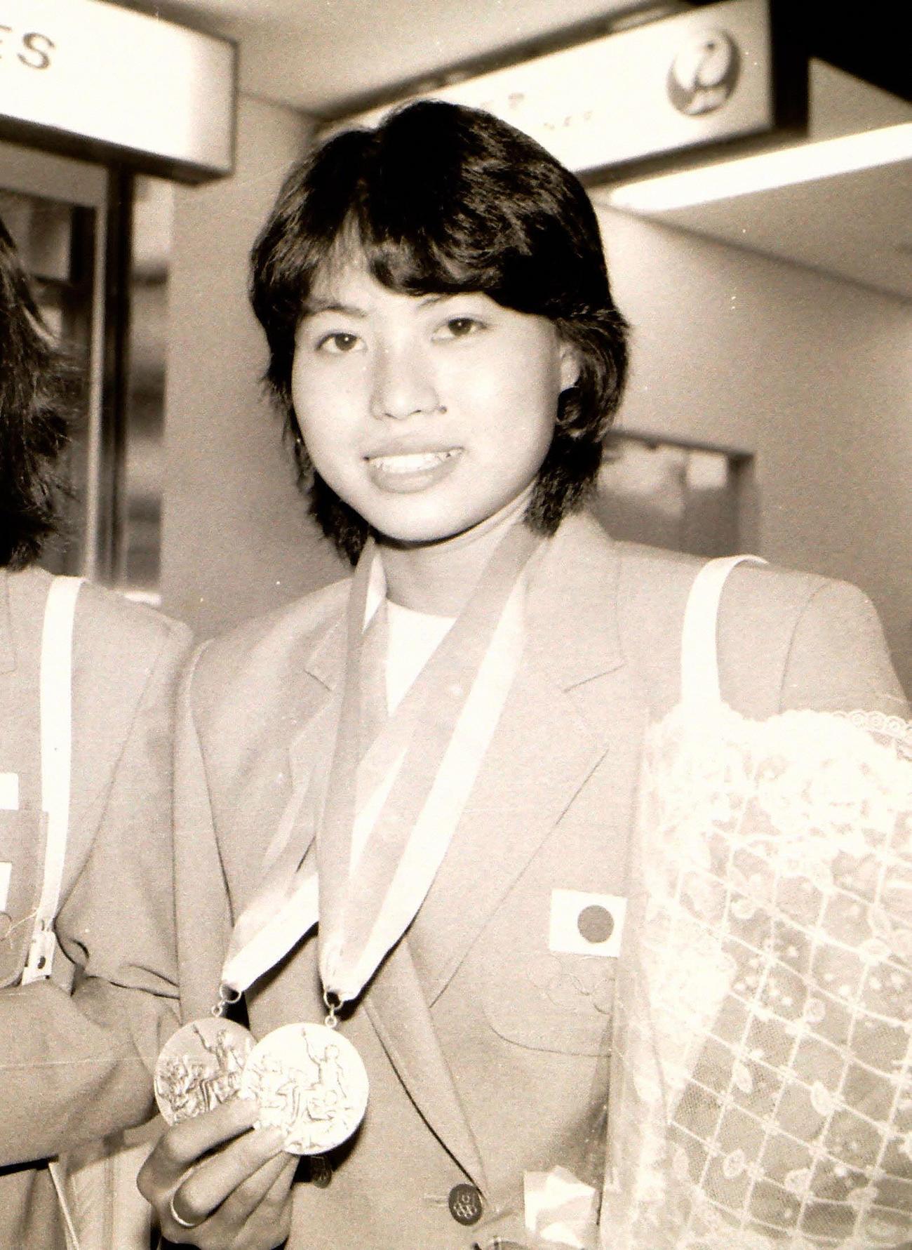 ロサンゼルス五輪シンクロナイズドスイミングで銅メダルを獲得した元好三和子(1984年8月9日撮影)