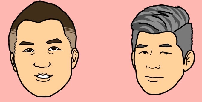 男子代表の井上康生監督(右)と鈴木桂治コーチのイラスト