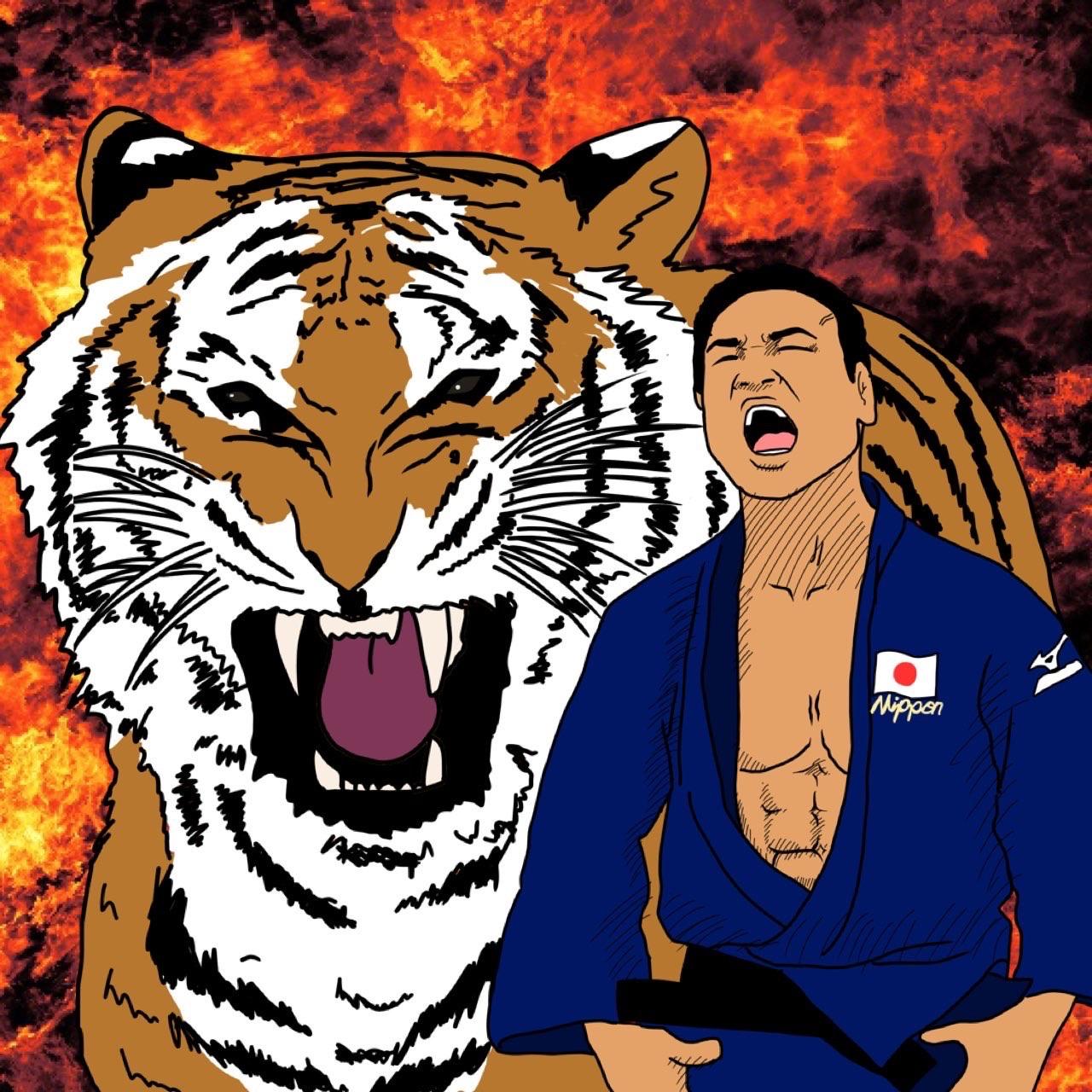 五輪2大会連続銅メダルの海老沼匡のイラスト