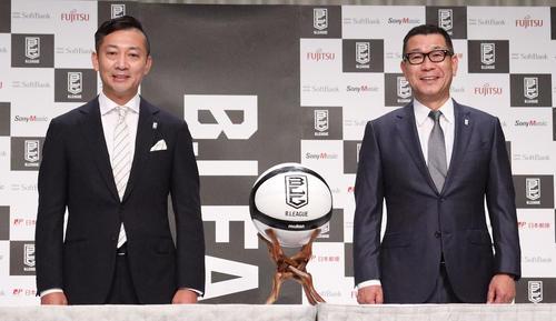 "Photo of Shinji Shimada's new chairman conference at B League ""Enjoy Japan"""