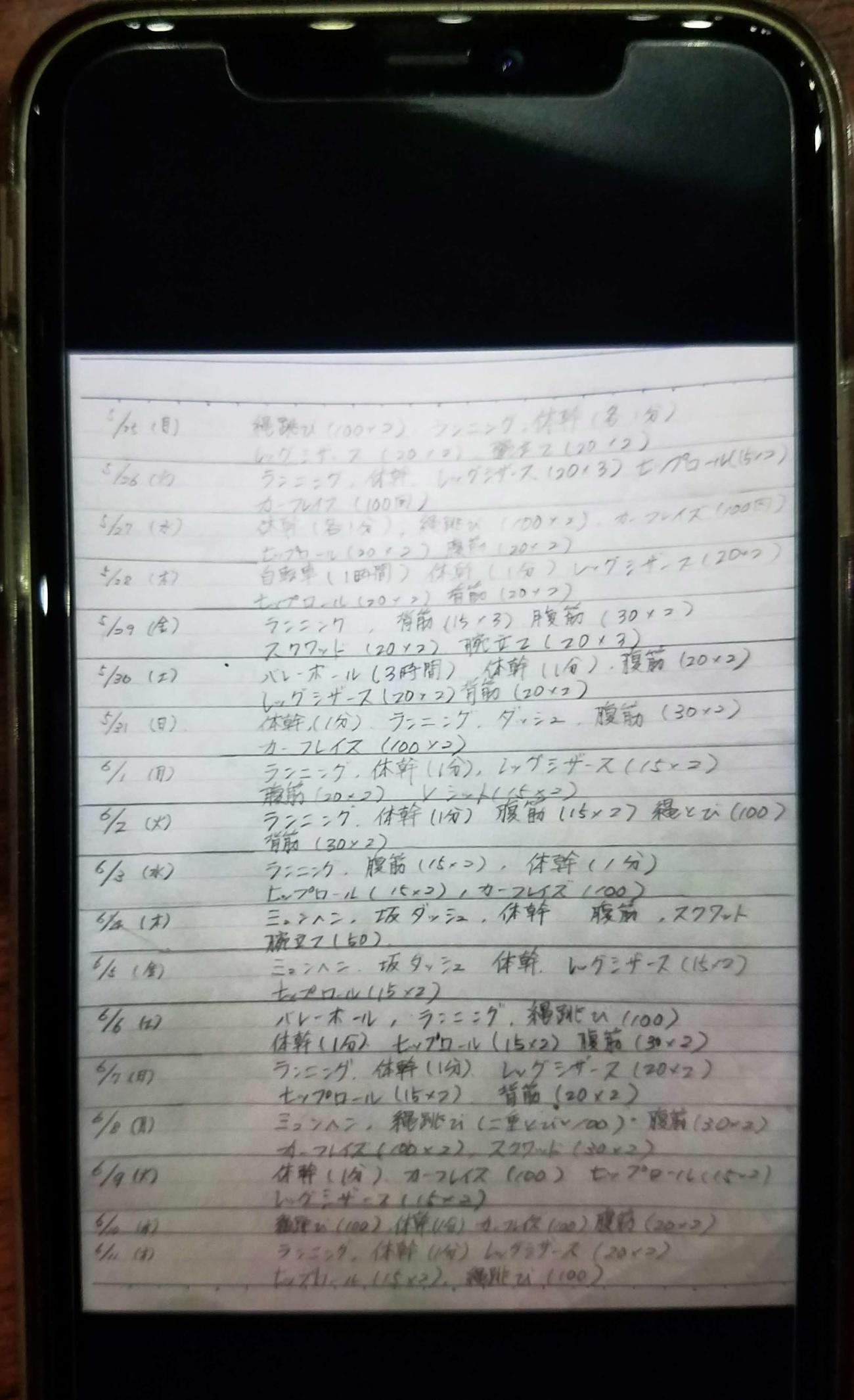 北海道科学大高男子バレーボール部は自粛期間中も個人練習をノートにつづった柿崎主将のノート(撮影・浅水友輝)