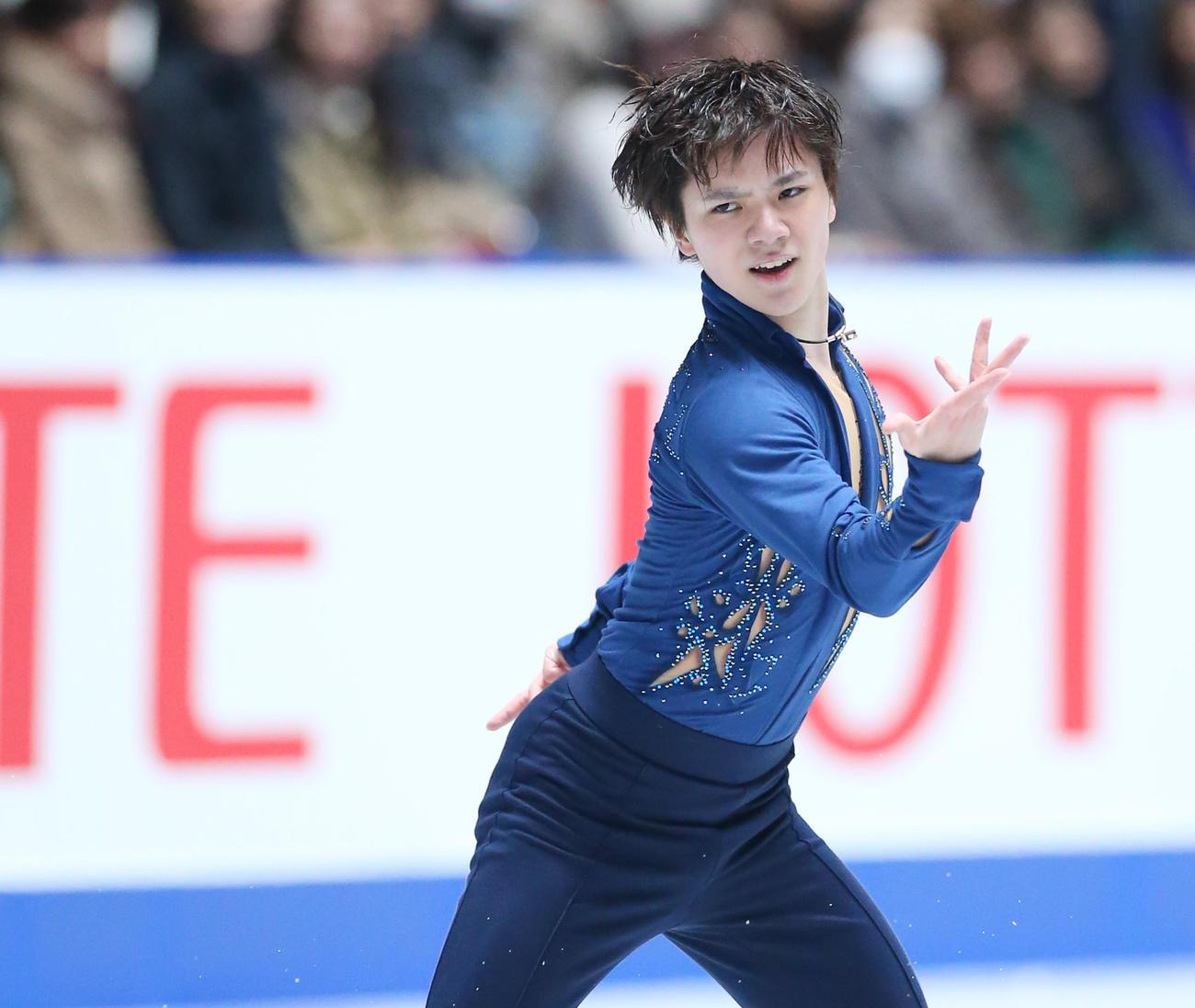 19年12月、フィギュアスケート全日本選手権男子フリーで演技する宇野昌磨