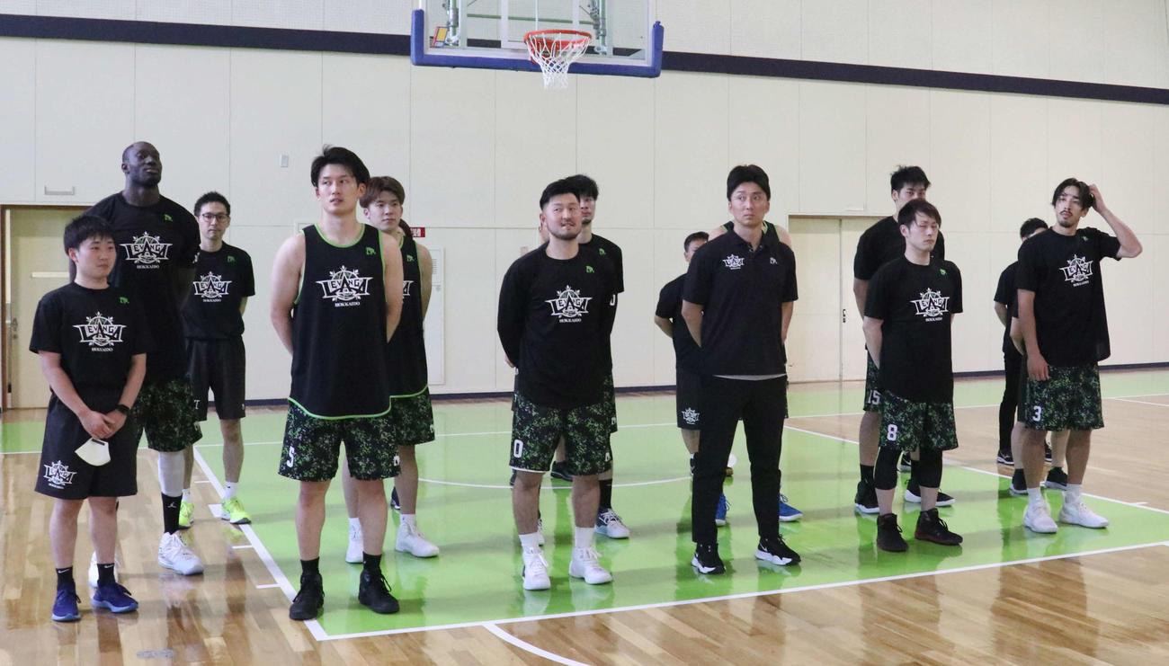 新体制初の全体練習に臨んだレバンガ北海道の選手たち(撮影・浅水友輝)