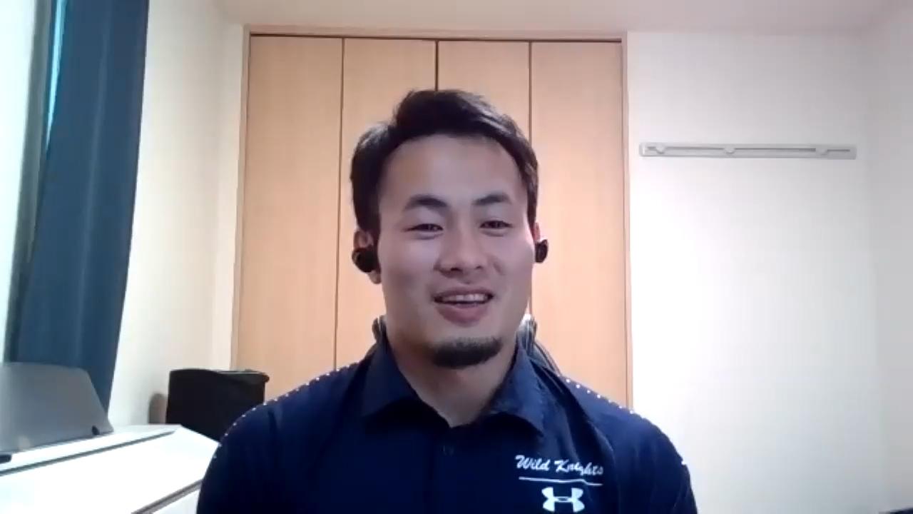 MBSテレビ「ミント!」のインタビューに答える福岡堅樹(C)MBS
