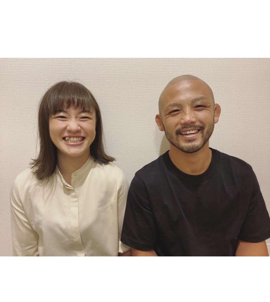 結婚を発表した登坂(左)と倉本(本人提供)