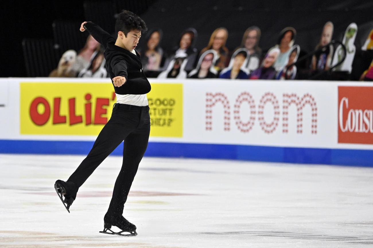 スケートアメリカ 男子ショートプログラム 演技するネーサン・チェン(AP)