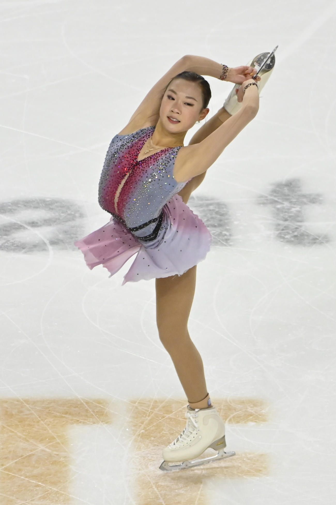 スケートアメリカ 女子フリー 演技するオードリー・シン(AP)