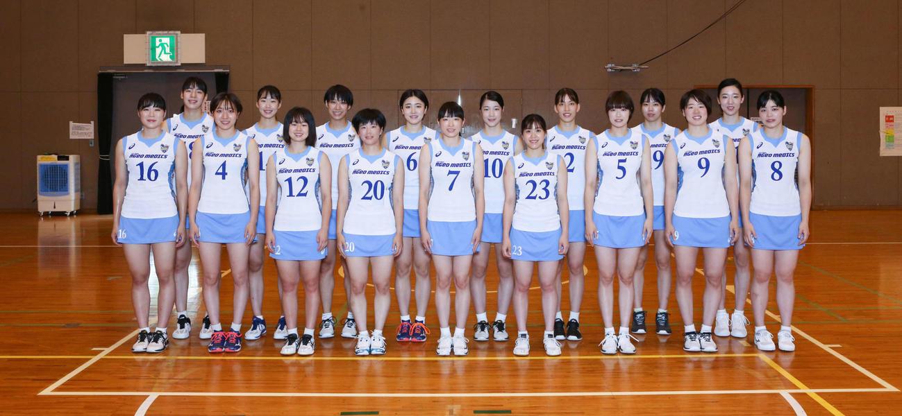 7日のトヨタ車体戦でお披露目されるスコートユニホームを着る埼玉上尾の選手たち
