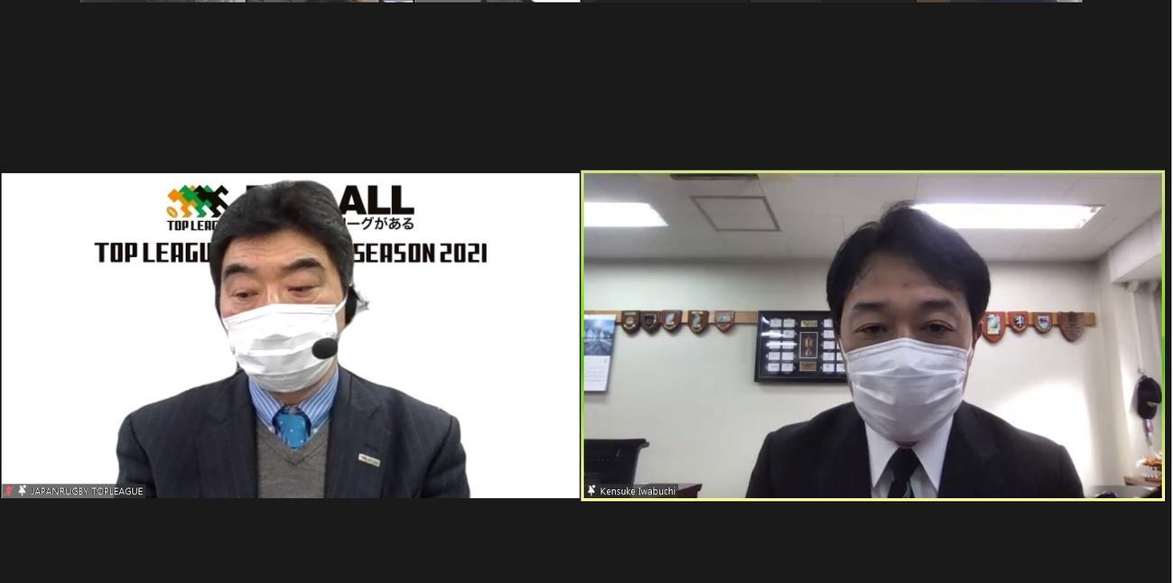記者会見に臨んだトップリーグの太田チェアマン(左)と日本協会の岩渕専務理事
