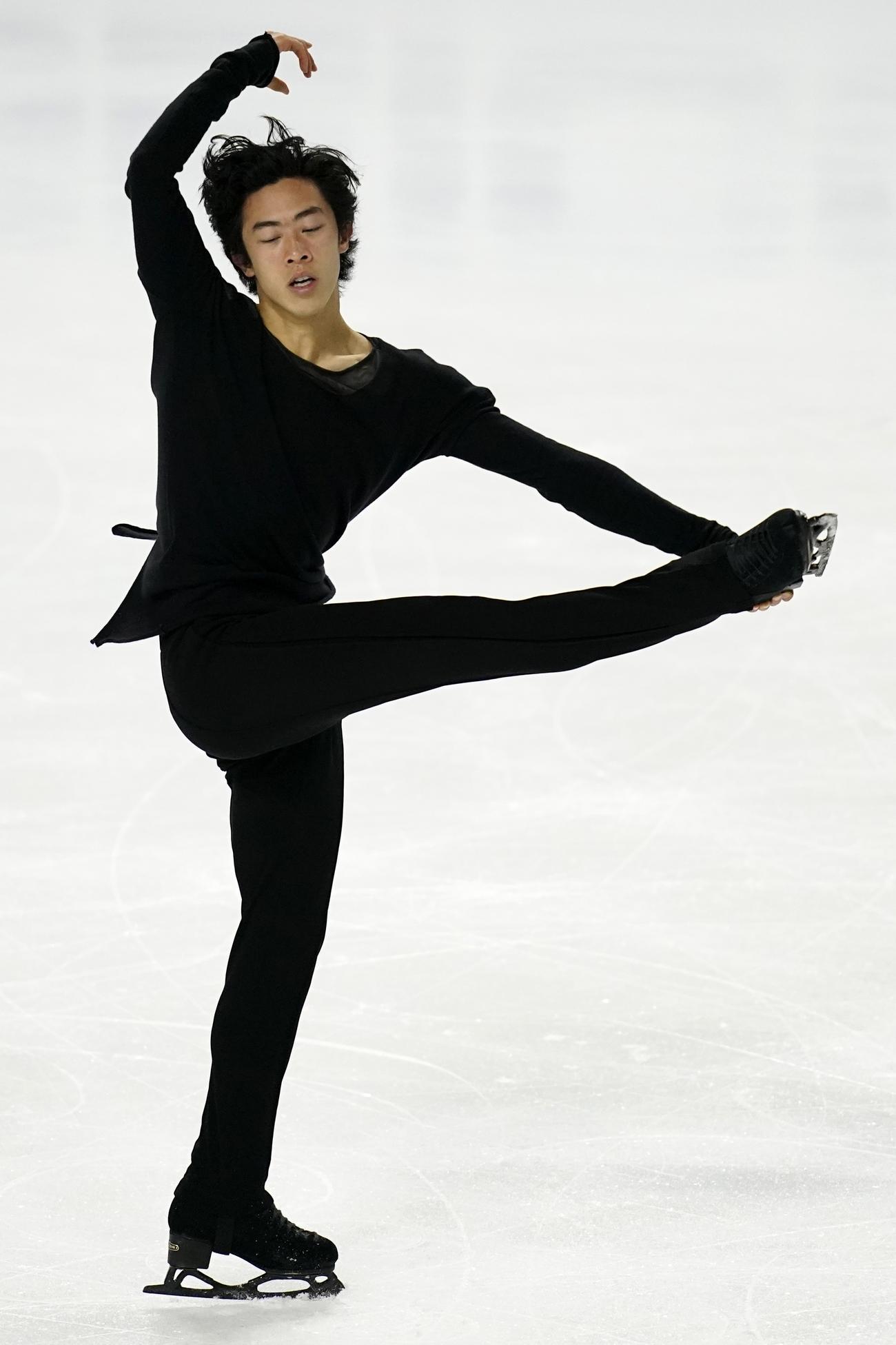 全米選手権で演技するネーサン・チェン(AP)