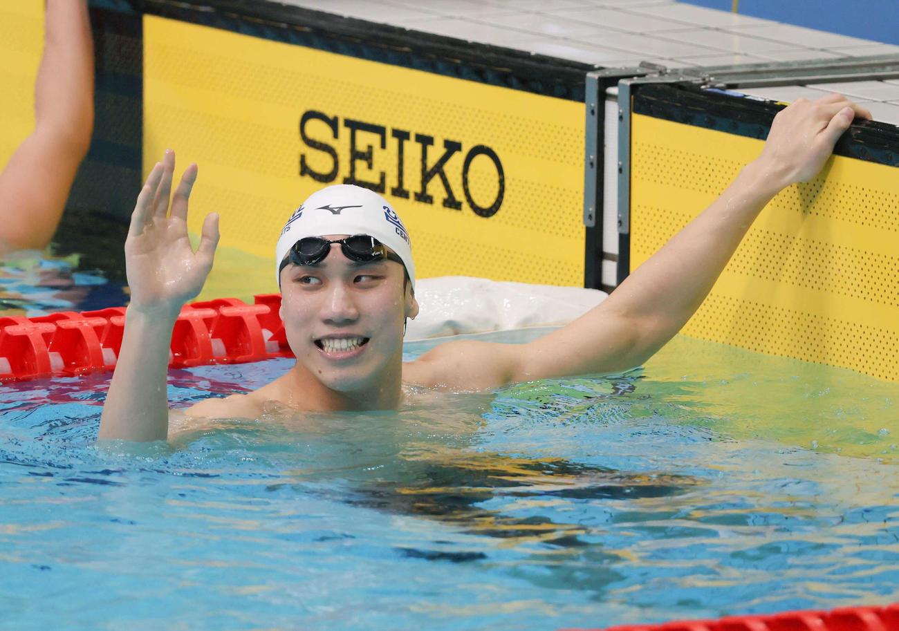 男子200メートル自由形を日本新で制した松元(代表撮影)
