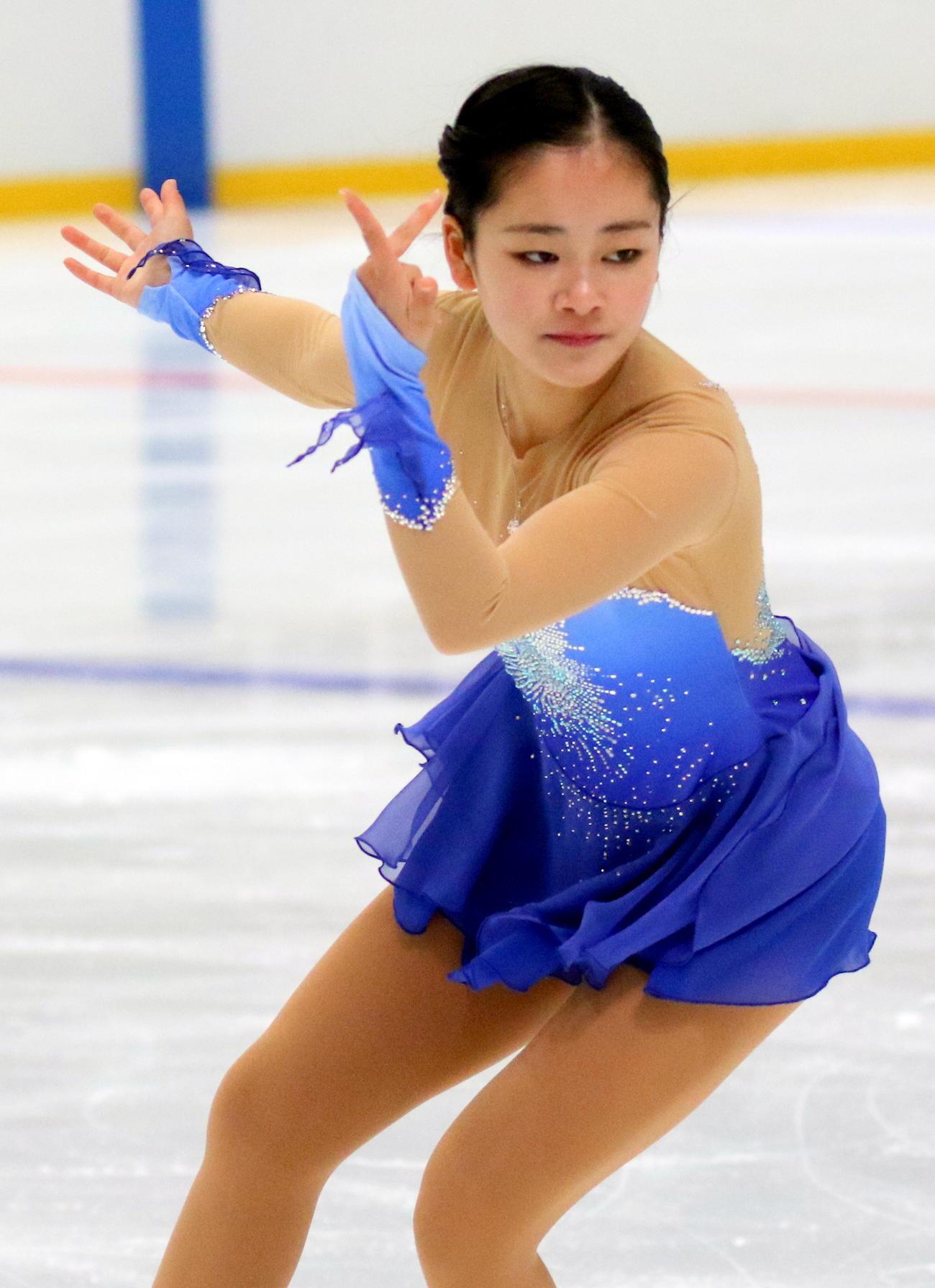 全国高校スケート選手権フィギュア競技 女子決勝(フリー)を終えて5位に入賞した青森山田3年の渡辺倫果(撮影・木下淳)