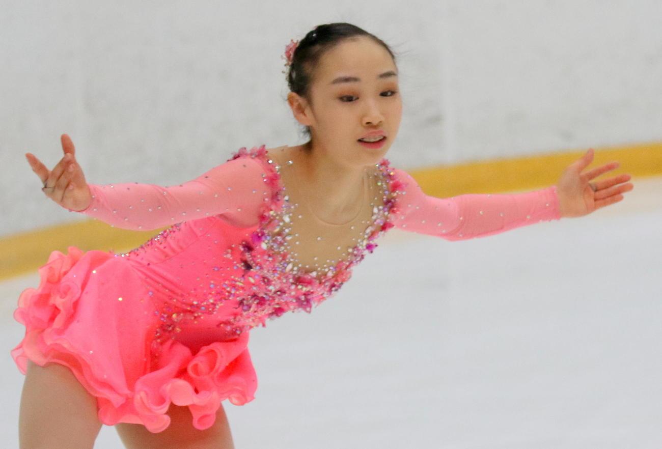 女子決勝(フリー)でSP2位から逆転し、インターハイ初出場初制覇を遂げた松生理乃(撮影・木下淳)