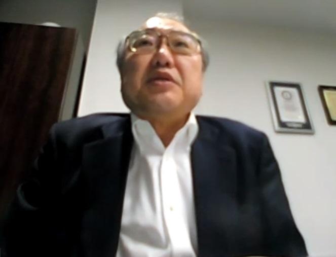 オンライン取材に応じる全日本柔道連盟の中里壮也専務理事