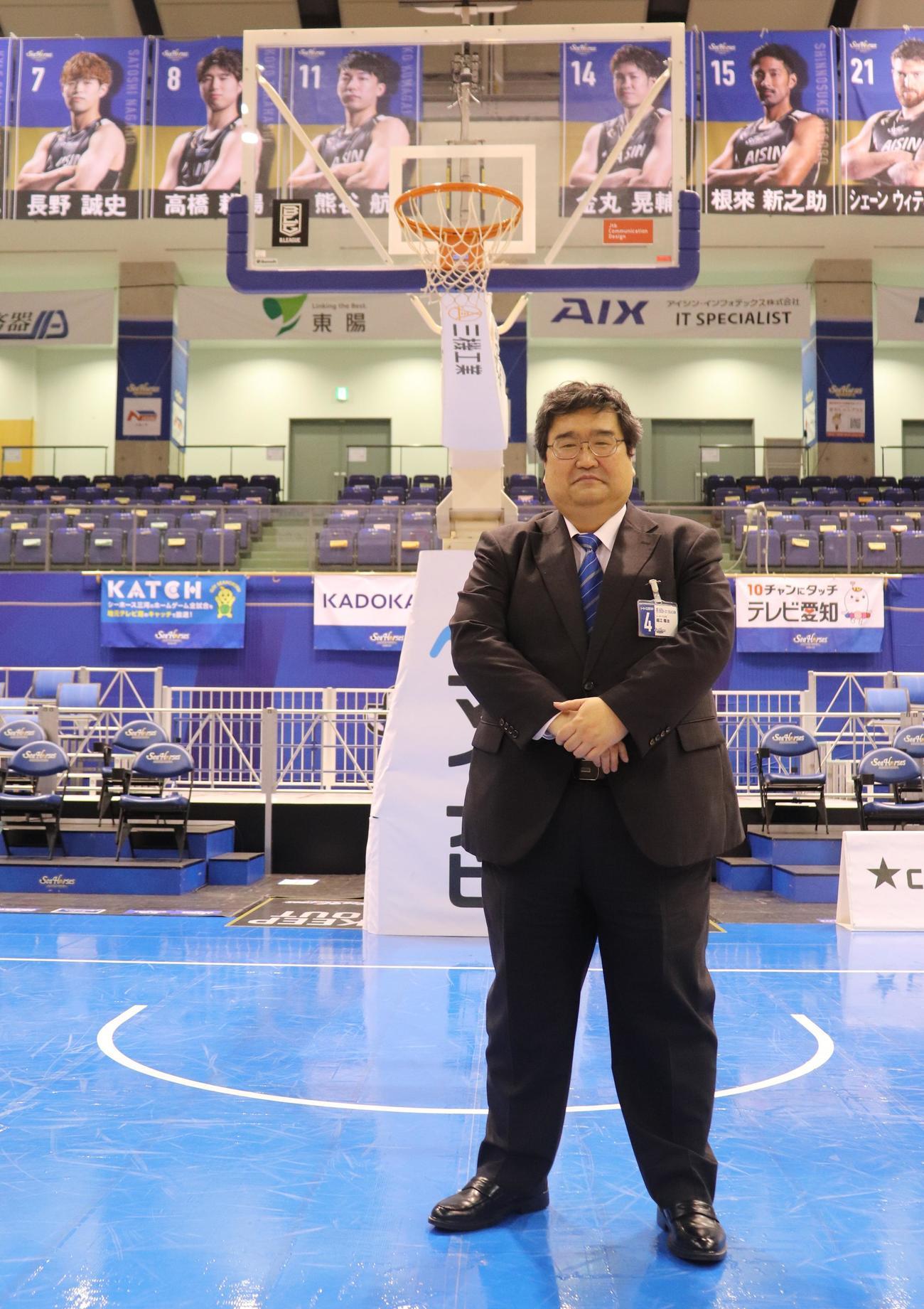 元楽天スタジアム部長で、現在はBリーグ三河のシニアコーディネーターを務める堀江さん(撮影・古川真弥)