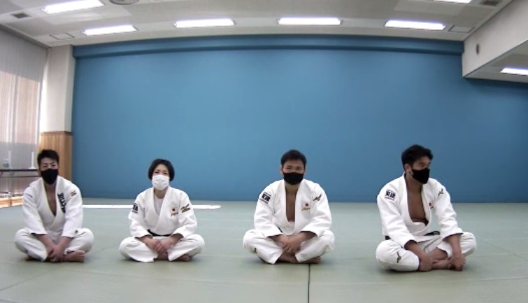 柔道交流会終了後、オンライン取材に応じる(左から)吉田優也氏、中村美里、海老沼匡、羽賀龍之介