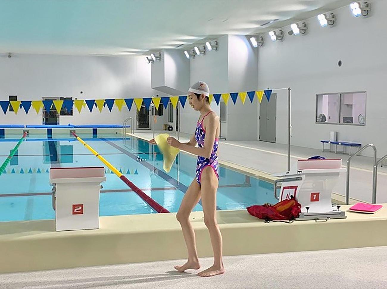 水中練習の再開からちょうど1年を迎えた競泳女子の池江璃花子がインスタグラムに投稿した写真(共同)