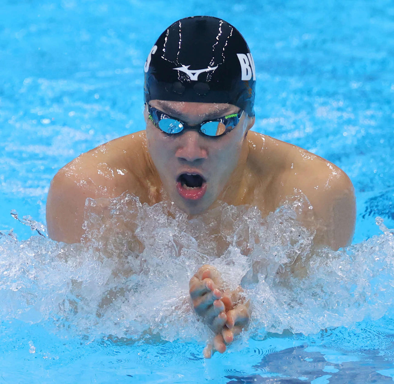男子200メートル平泳ぎ決勝で2位の武良(代表撮影)