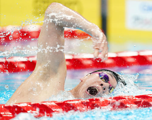 男子800メートル自由形決勝 力泳する黒川(撮影・菅敏)