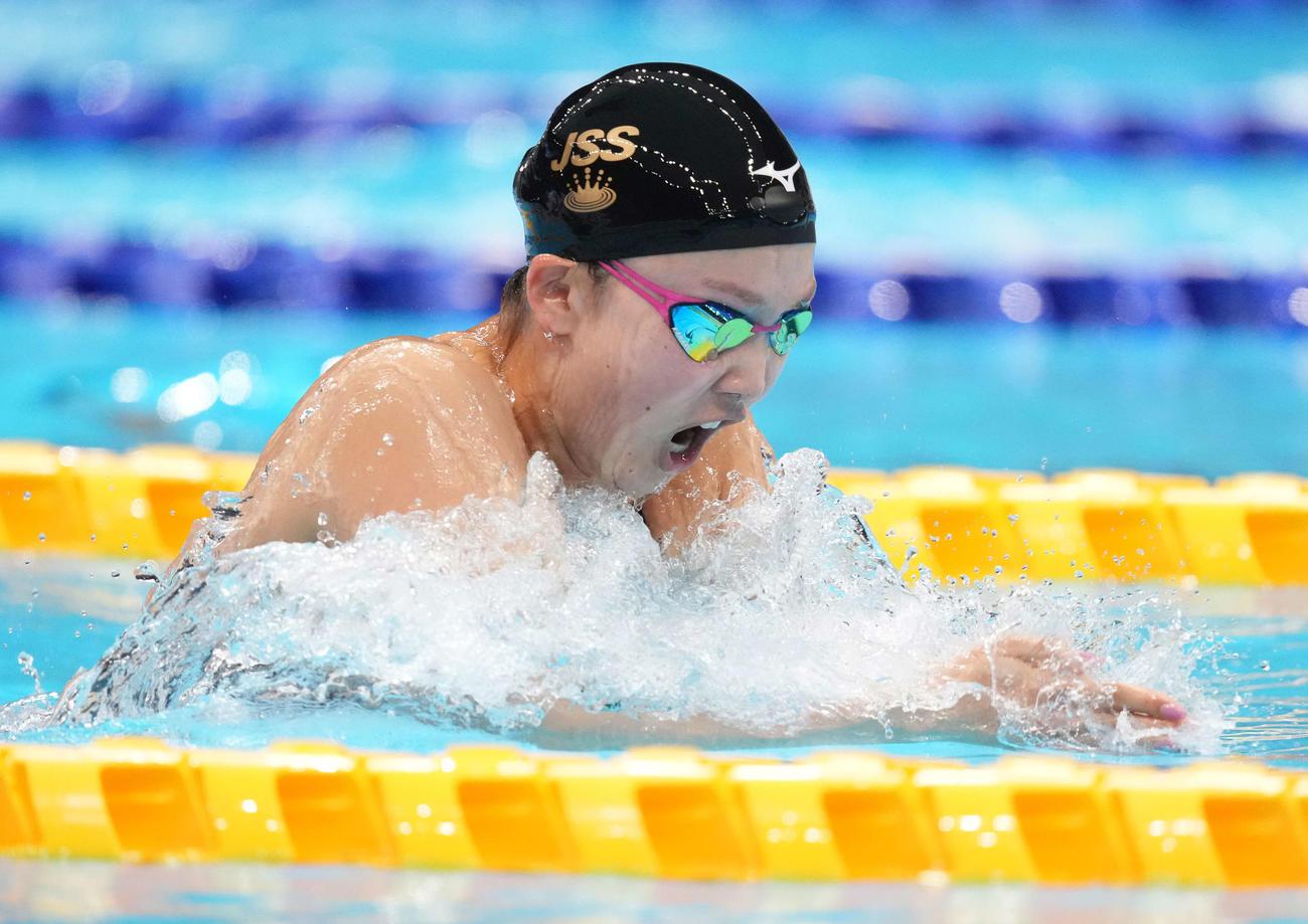 女子200メートル平泳ぎで優勝した渡部(撮影・鈴木みどり)