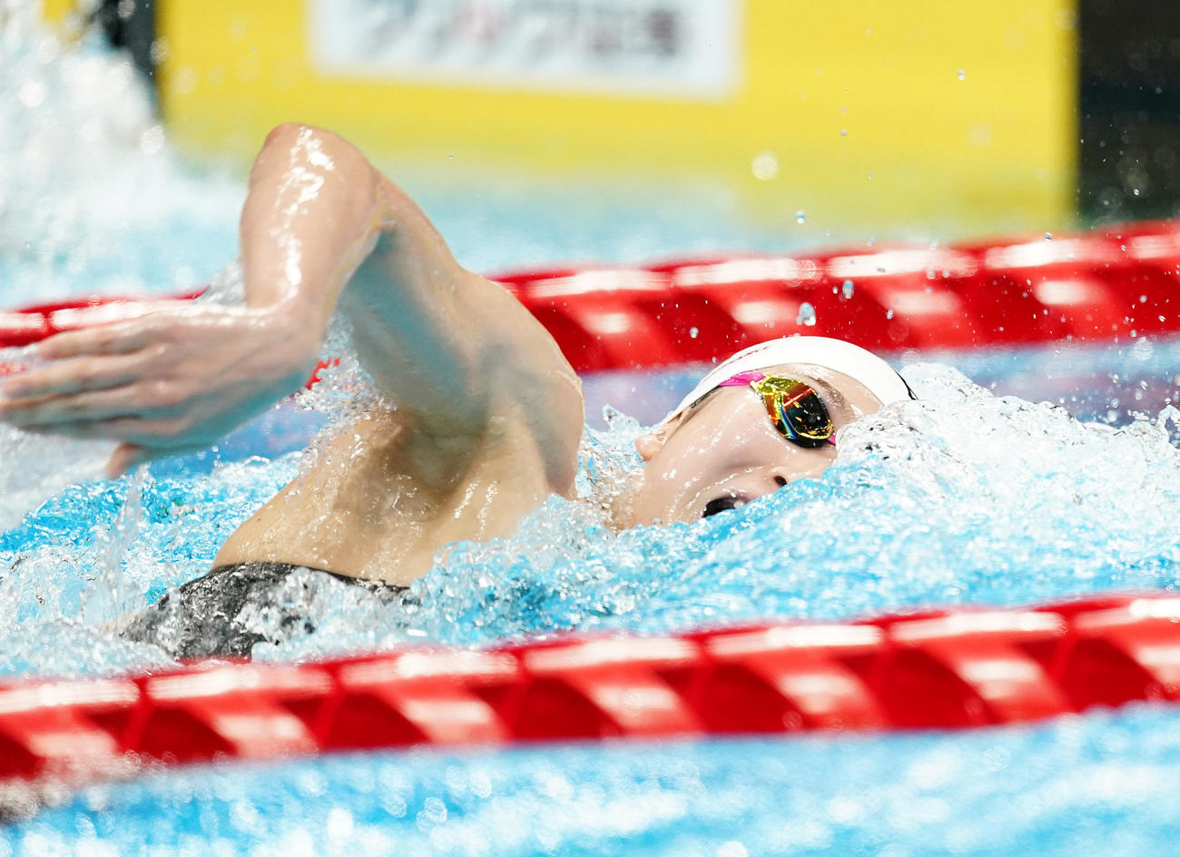 女子100メートル自由形準決勝 力泳する池江(撮影・菅敏)