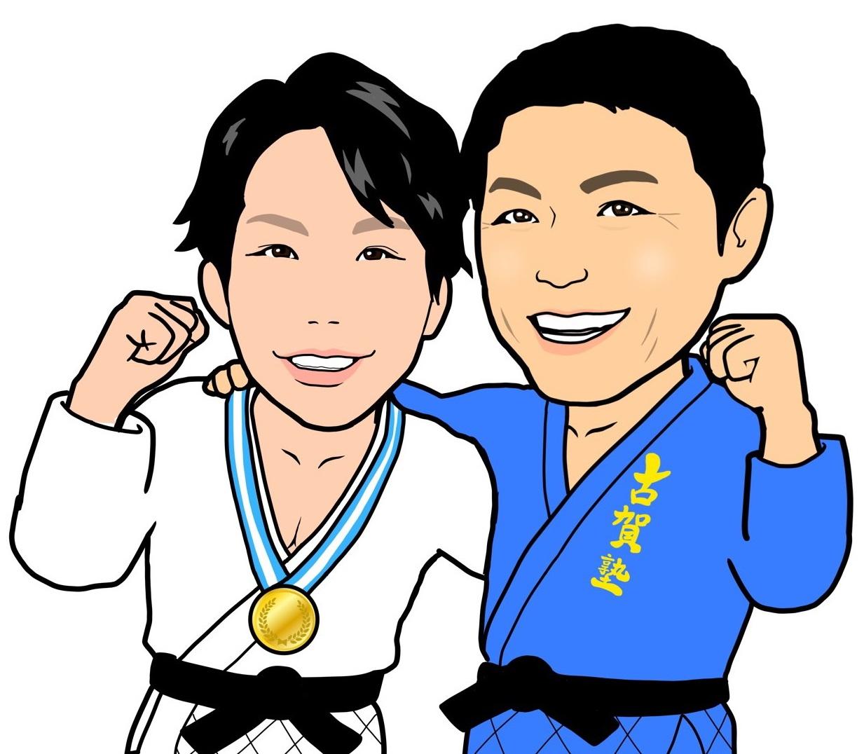 石川裕紀さんが描いた古賀玄暉と稔彦さん(右)の親子イラスト(本人提供)