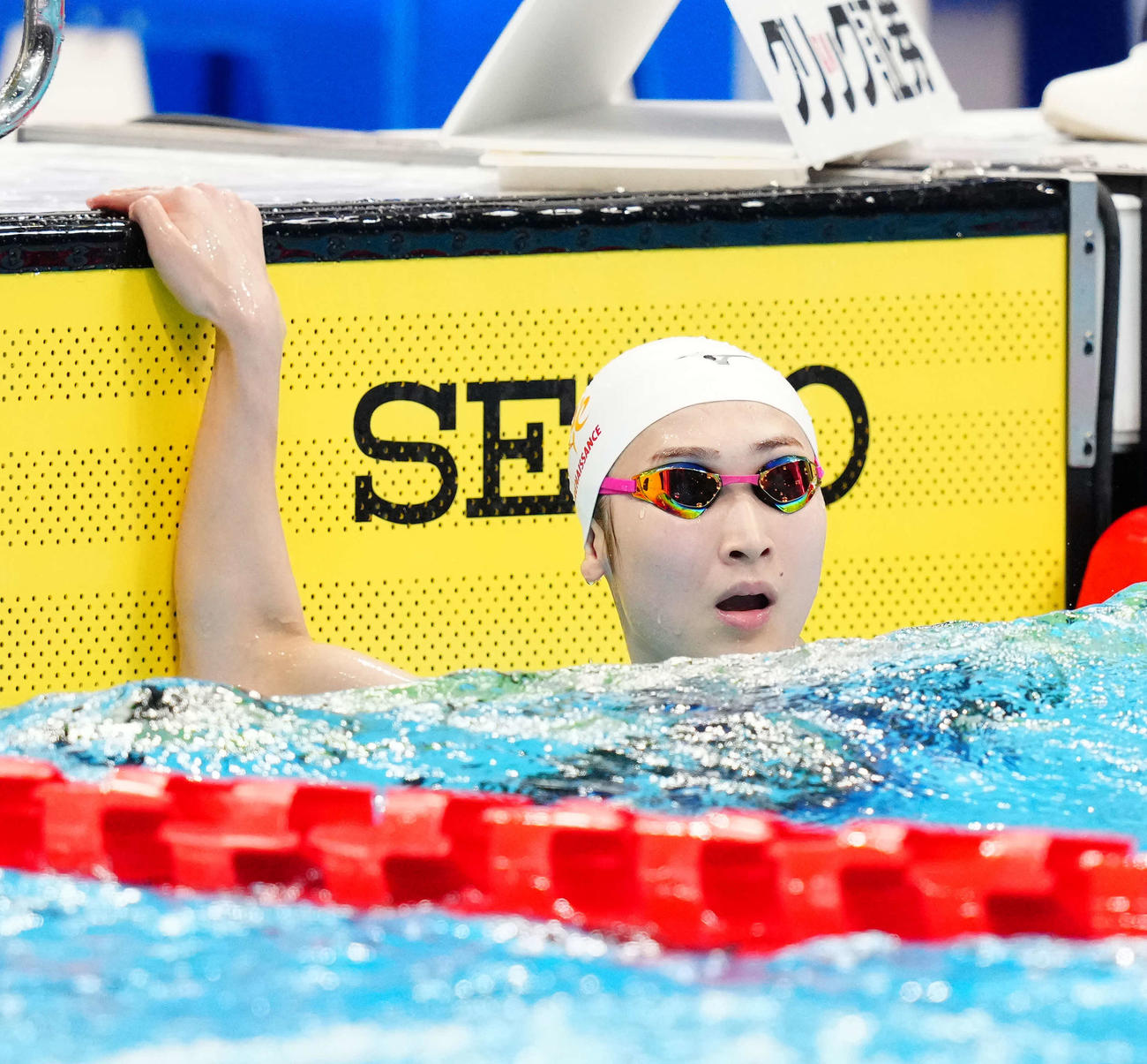 女子50メートルバタフライ決勝、日本学生新記録で優勝した池江(撮影・江口和貴)