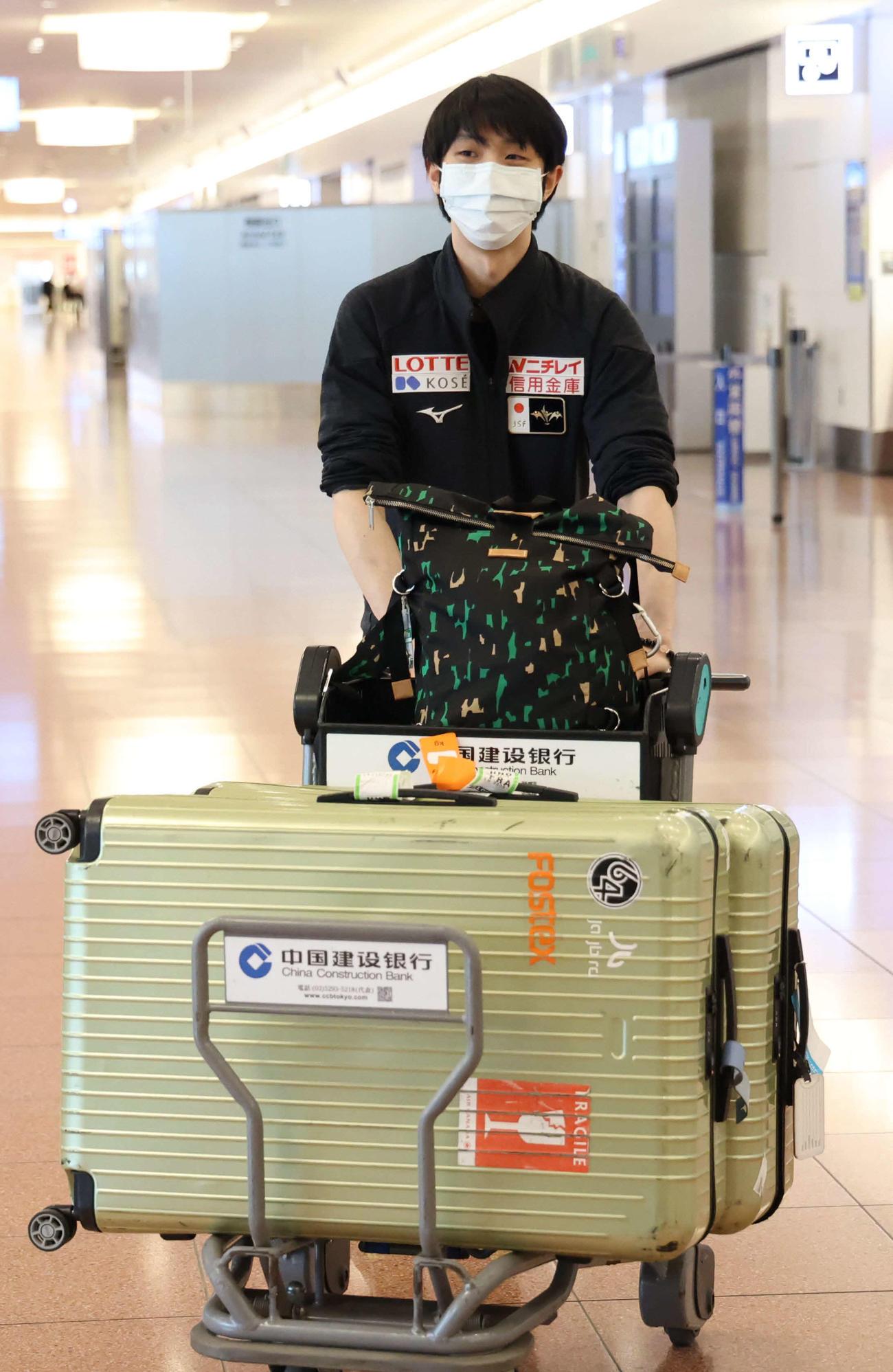 3月、世界選手権を終え、帰国した羽生