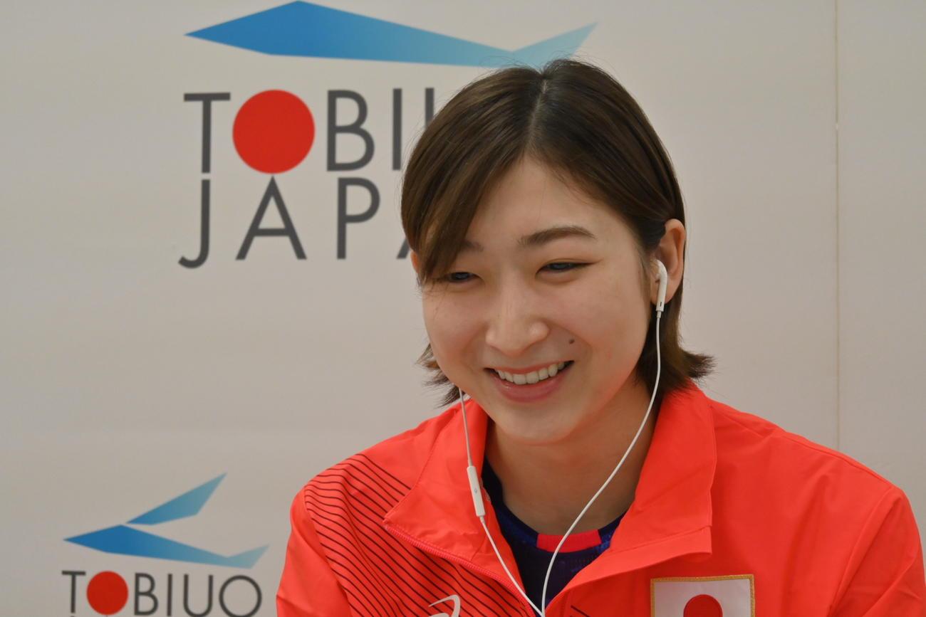 日本代表合宿中にオンラインで取材に応じた池江璃花子(日本水泳連盟提供)